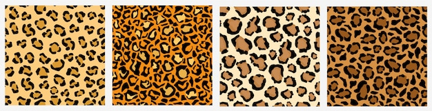 Set of various leopard skin seamless pattern colored decoration exotic template Premium Vector
