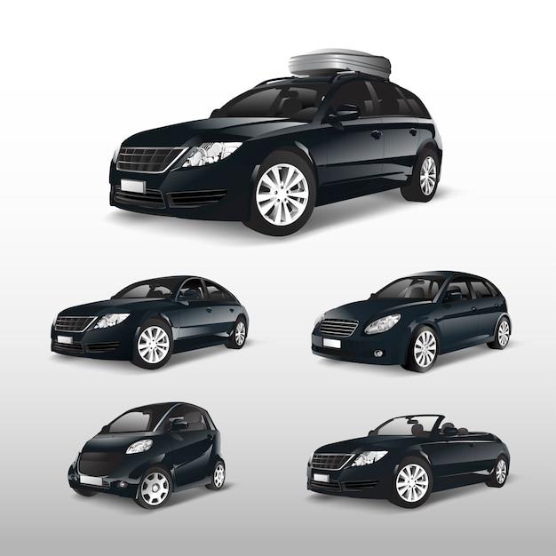 Set of various models of black car vectors Free Vector