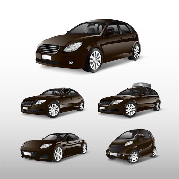 Set of various models of brown car vectors Free Vector