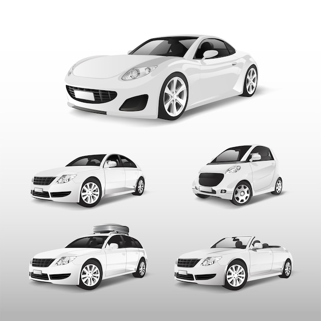 Set of various models of white car vectors Free Vector