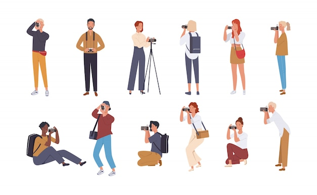 Set of various photographers holding photo camera and photographing. Premium Vector