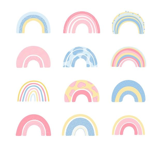 아이들을위한 흰색 배경에 고립 된 손으로 그린 스타일에 다양 한 무지개를 설정합니다. 프리미엄 벡터