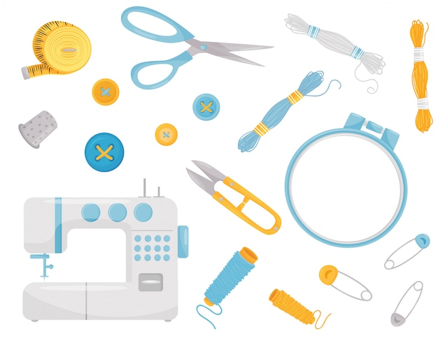 Set of various sewing supplies and equipment. professional dressmaking instruments Premium Vector