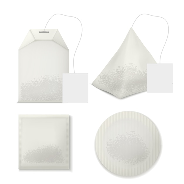 Set of various shape tea bags with blank label tags and leaves inside Free Vector
