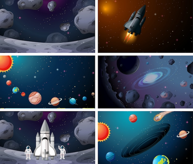 Set of various soloar system space scenes background Free Vector