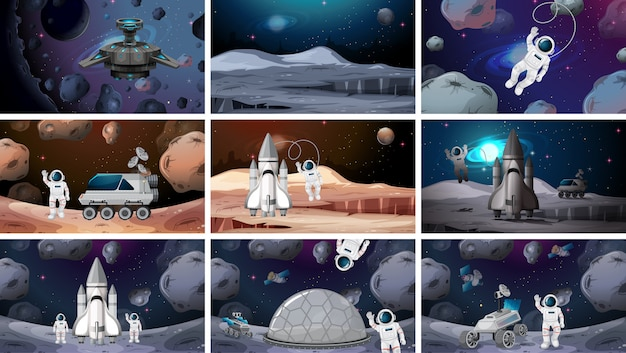Set of various space scenes background Free Vector