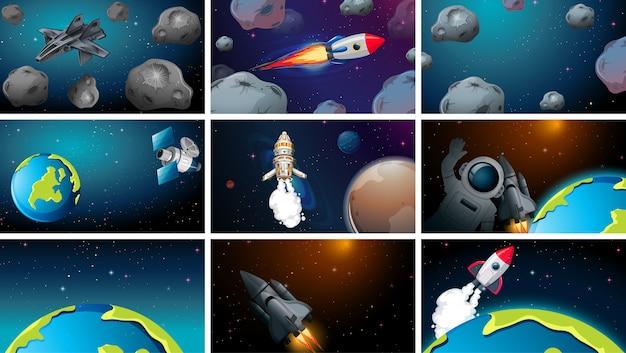 Set of various space scenes Premium Vector