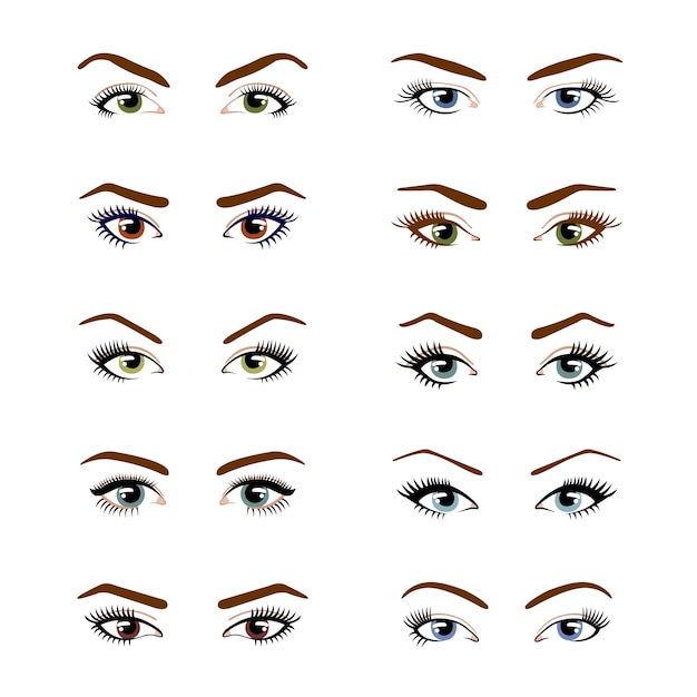Set of various types of color female eyes isolated on white background. Premium Vector