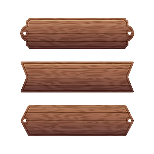 Set of various wooden banners Premium Vector