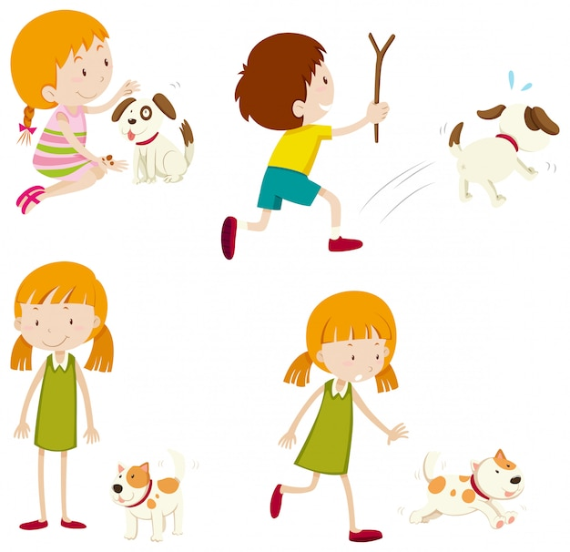 Set of various young children and dogs Premium Vector