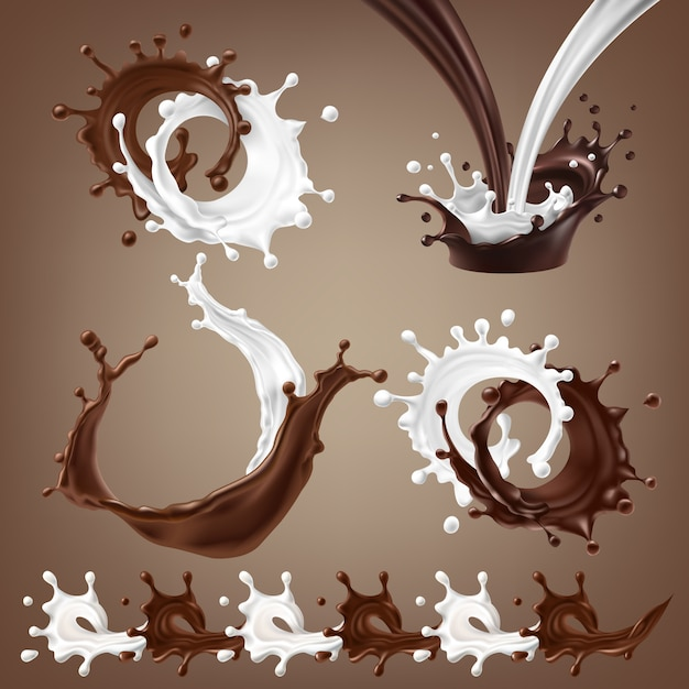 Set vector 3d illustrations, splashes and drops of melted dark chocolate, hot coffee and milk flow mixed Free Vector