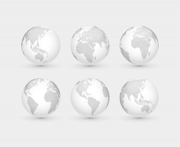 Set of vector abstract dotted globes. six globes, including a view of the americas, asia, australia, africa, europe and the atlantic Premium Vector
