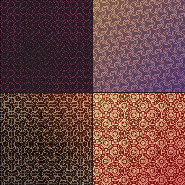 Set vector arabic seamless patterns Premium Vector