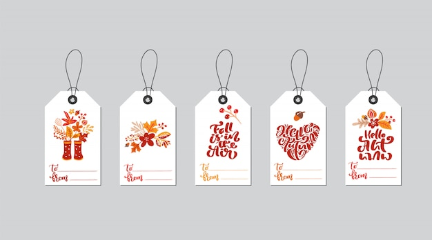 Set of vector autumn gift box tags with fall calligraphy. Premium Vector