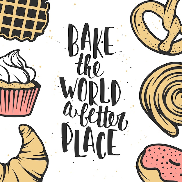 Set of vector bakery elements and lettering. Premium Vector
