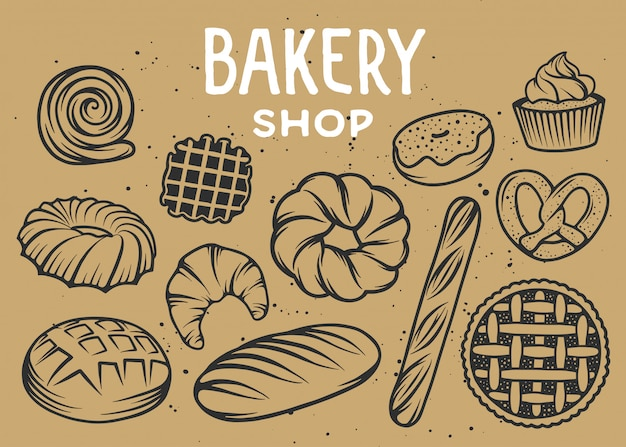 Set of vector bakery engraved elements Premium Vector