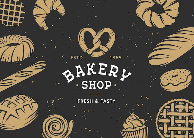 Set of vector bakery engraved elements Premium Vector