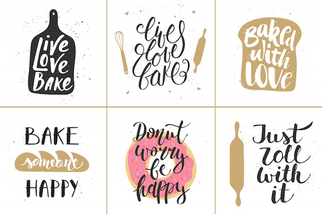 Set of vector bakery lettering posters Premium Vector