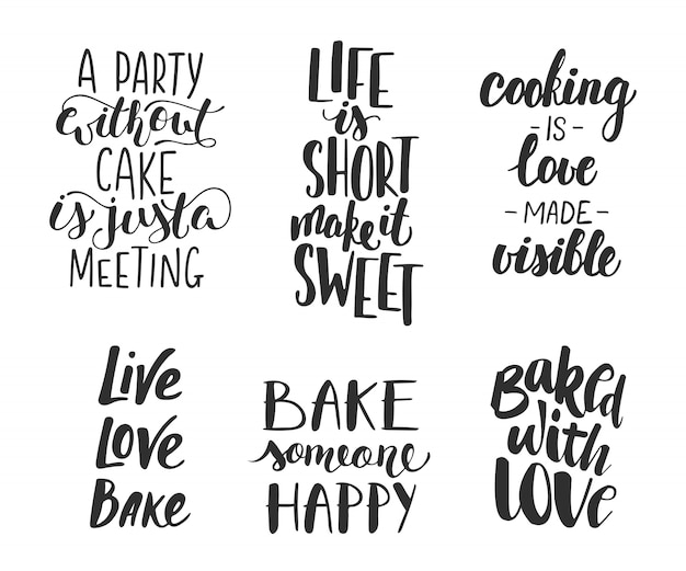 Set of vector bakery letterings for greeting cards Premium Vector