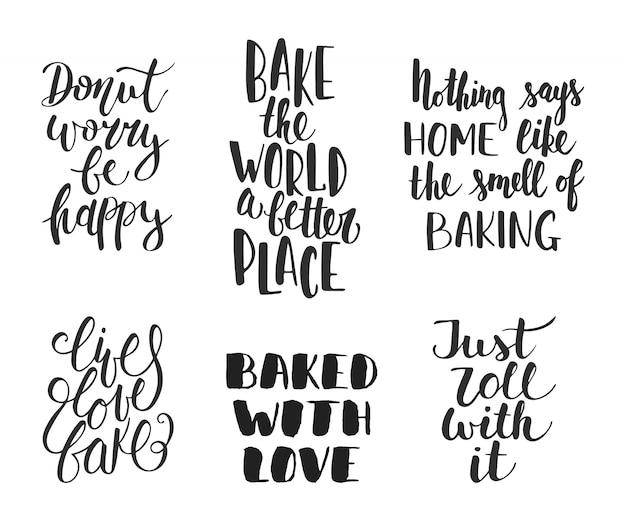 Set of vector bakery letterings Premium Vector