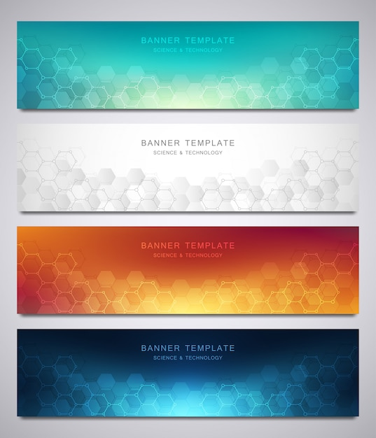 Set of vector banners and headers for site with medical background and hexagons pattern Premium Vector