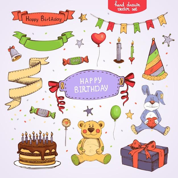Set di elementi di festa di compleanno di vettore: torta regalo scatola orsacchiotto Vettore gratuito