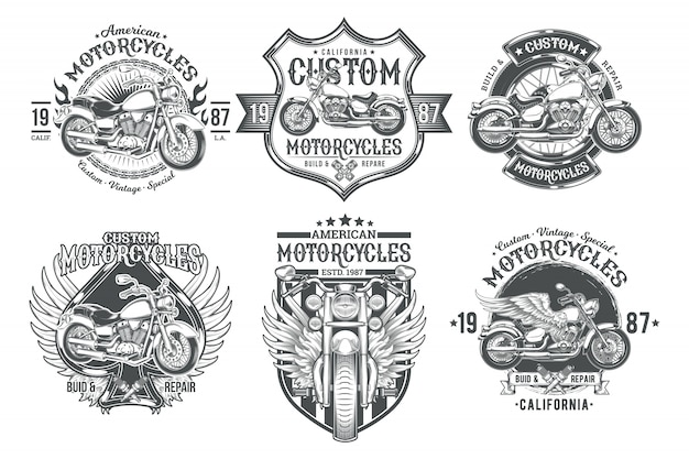 Set vector black vintage badges, emblems with a custom motorcycle Free Vector
