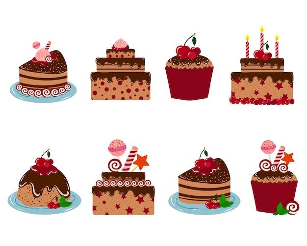 Set of vector cakes for birthday Premium Vector