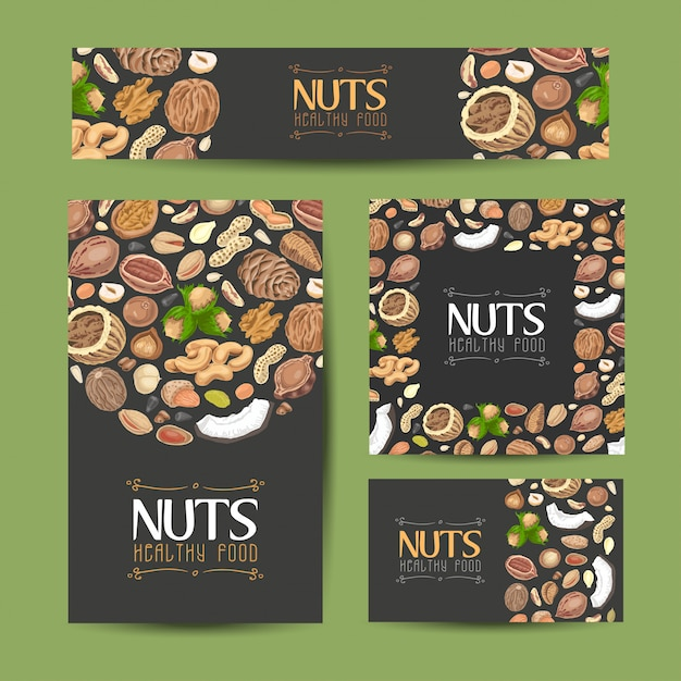 Set of vector cards with nuts and seeds Premium Vector