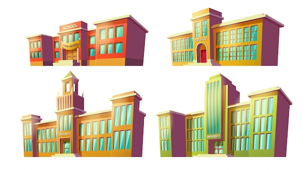 Set of vector cartoon illustrations of various color old, retro educational institutions, schools. Free Vector