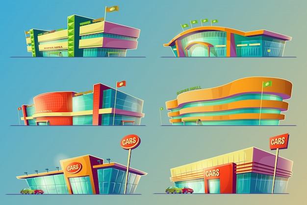Set of vector cartoon illustrations, various supermarket buildings, shops, large malls, stores Free Vector