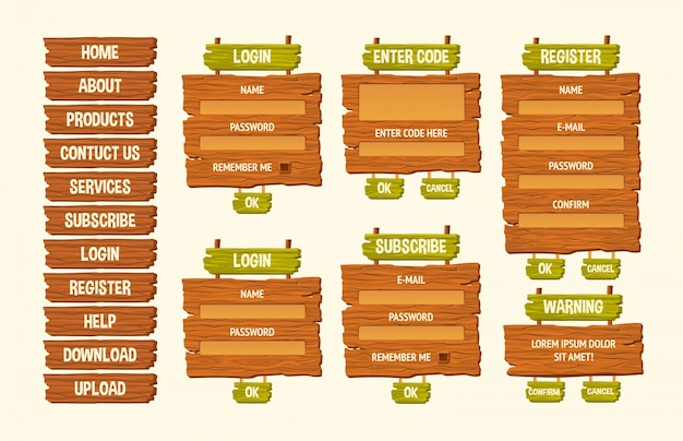 Set of vector cartoon illustrations wooden signs, gui design elements Free Vector