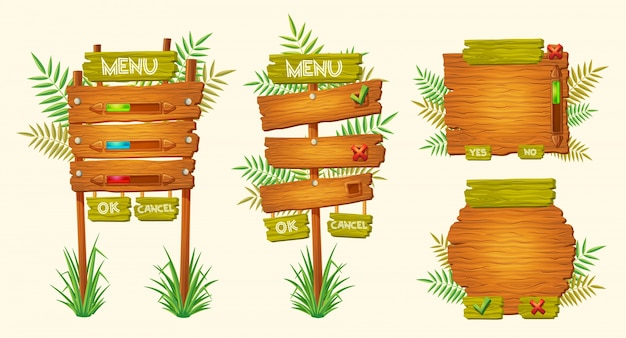 Set of vector cartoon wooden signs of various forms Free Vector