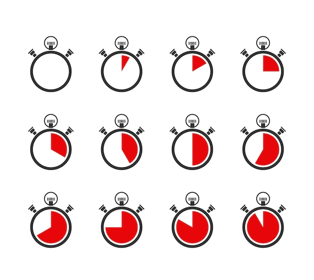 Set of vector chronometers or timers icons Free Vector