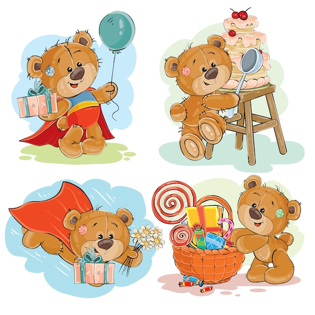Set of vector clip art illustrations of brown teddy bear wishes you a happy birthday. Free Vector
