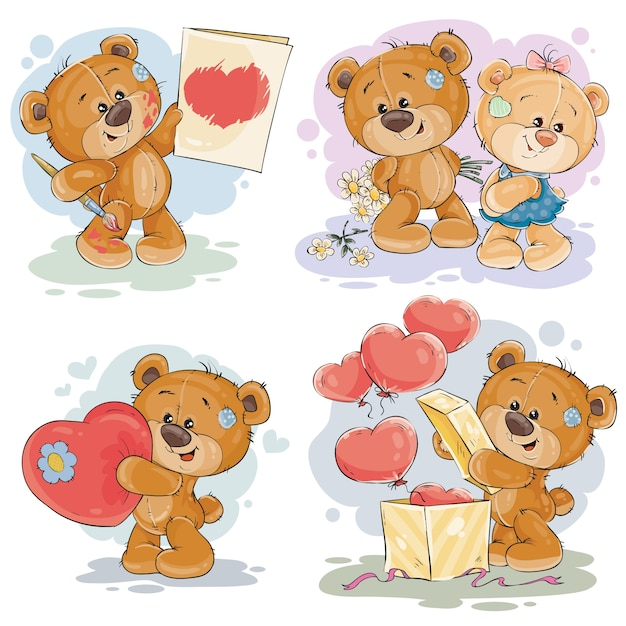 Set vector clip art illustrations of teddy bears Free Vector