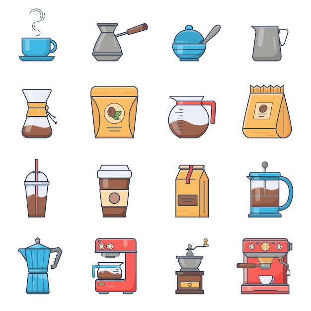 Set of vector coffee elements and coffee accessories Premium Vector