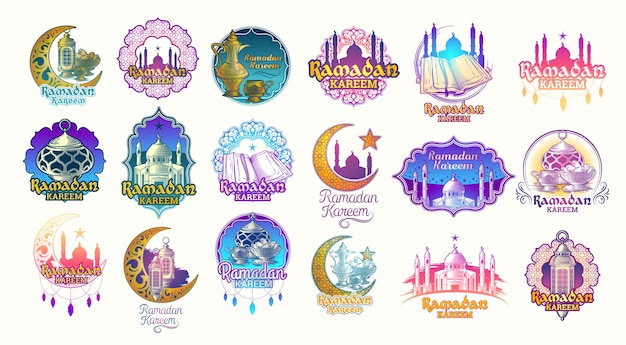 Set vector color illustrations, badges, emblems for Ramadan Kareem. Free Vector