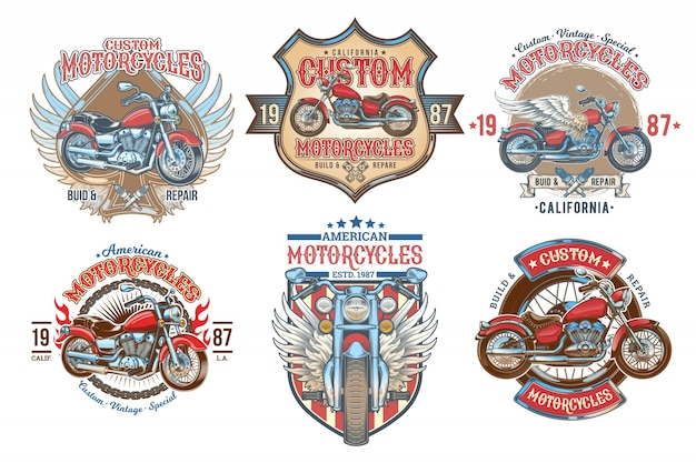 Set vector color vintage badges, emblems with a custom motorcycle Free Vector