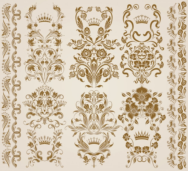Set of vector damask ornaments, patterns. Premium Vector