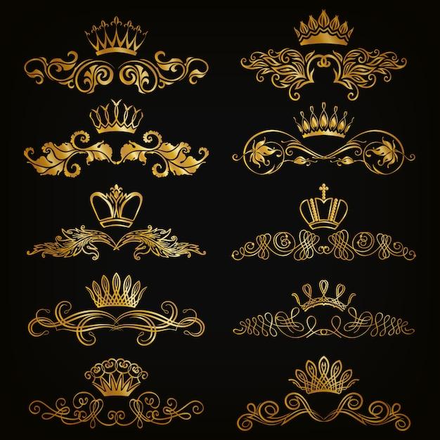 Set of vector damask ornaments. Premium Vector