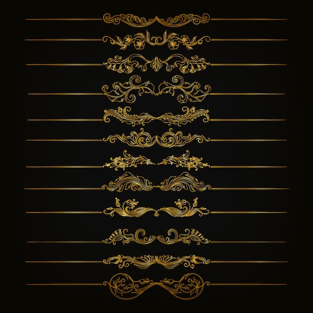 Set of vector damask ornaments. Premium Vector