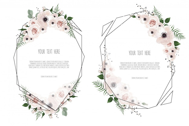 Set vector floral design card. Premium Vector