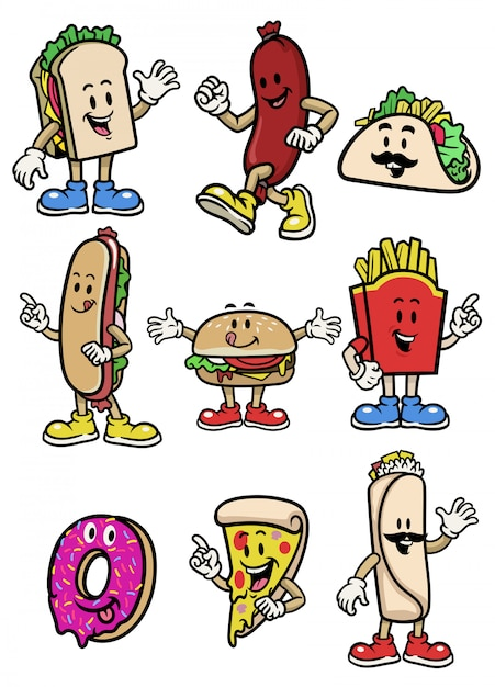 Set  vector of food character collection Premium Vector