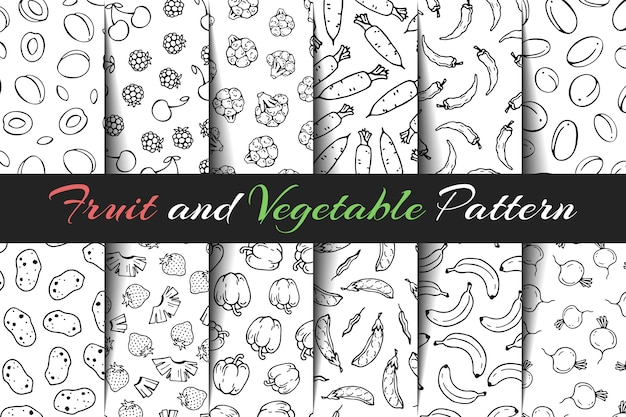Set of vector fruit and vegetable patterns. Premium Vector
