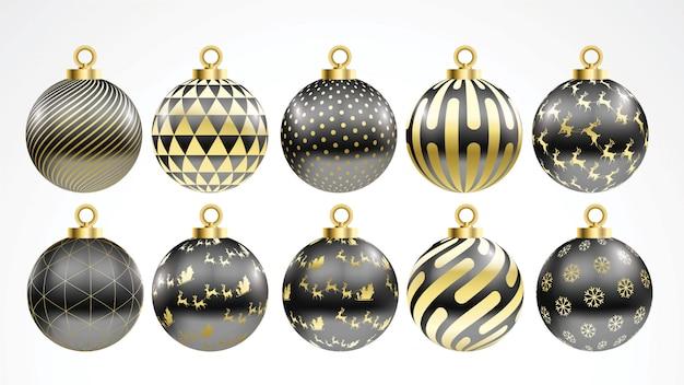 Black Christmas Balls.Set Of Vector Gold And Black Christmas Balls With Ornaments Vector