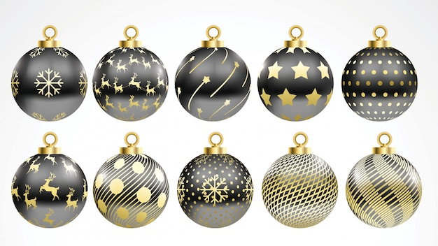 Black Christmas Ornaments.Set Of Vector Gold And Black Christmas Balls With Ornaments