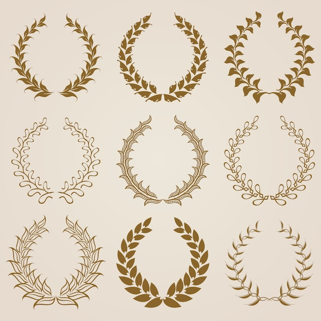 Set of vector gold laurel wreaths. Premium Vector