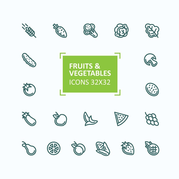 Set of vector icons of fruits and vegetables in the style of a thin line, editable stroke Free Vector