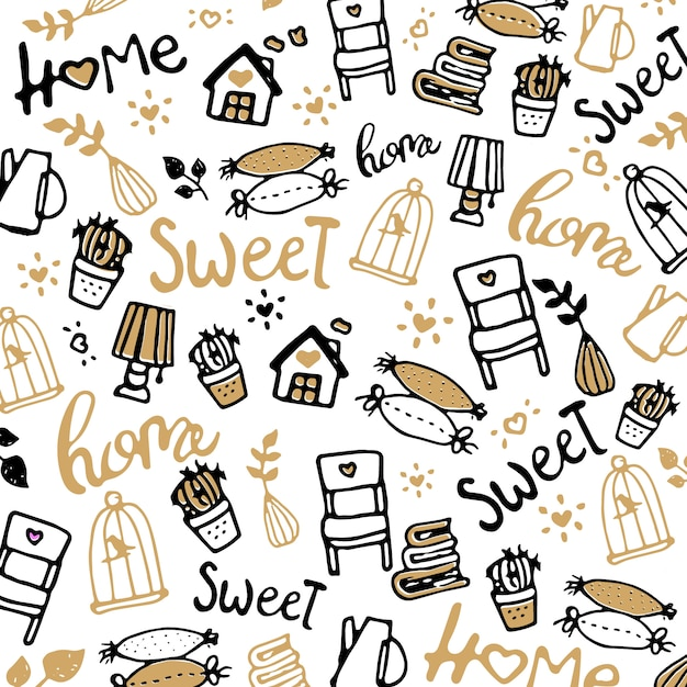 Set of vector icons for living room. home sweet home Premium Vector